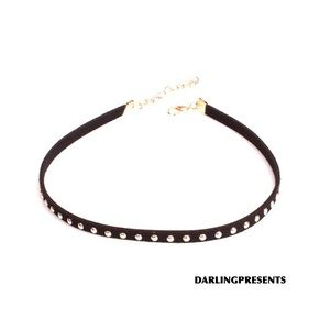 ⬇️ $16 GOLD STUD BLACK SUEDE CHOKER NECKLACE
